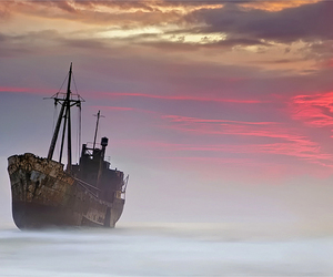 ship, fog, and photography image