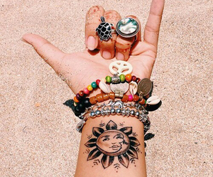 tattoo, beach, and sun image