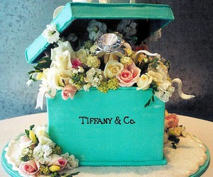 cake, flowers, and tiffany image