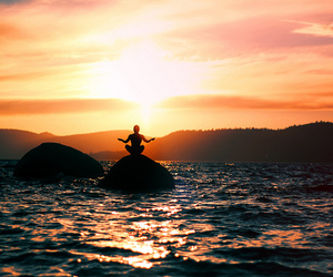 sunset, sea, and peace image
