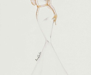 drawing, dress, and white image