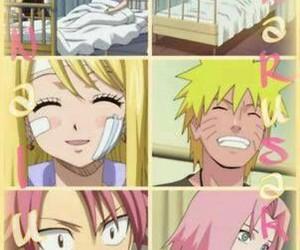 forever, narusaku, and yellow and pink image