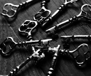 black and white, keys, and love image