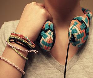 headphones, music, and bracelet image