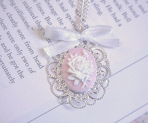 pink, necklace, and book image