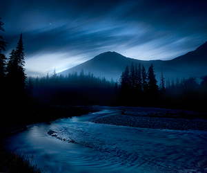blue, mountains, and dark image