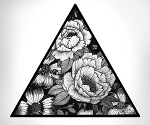 flowers, triangle, and art image