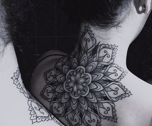 tattoo, black and white, and flowers image