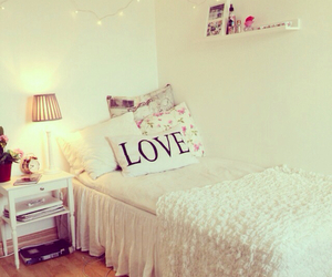 bed, light, and love image