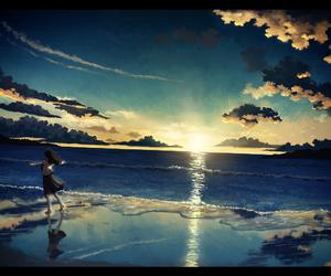 anime, sky, and sea image