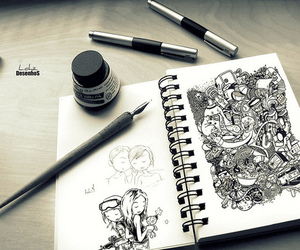 black, doodles, and drawings image