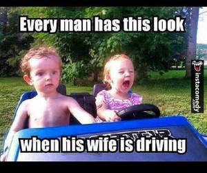 funny, wife, and car image