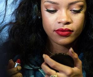 rihanna and red lipstick image