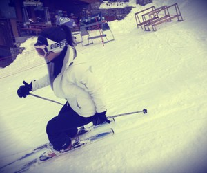 athletic, black and white, and ski image