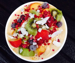 fruit, smoothie bowl, and healthy image