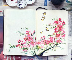 art, watercolor, and blossom image