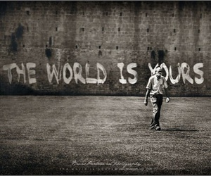 world, black and white, and yours image