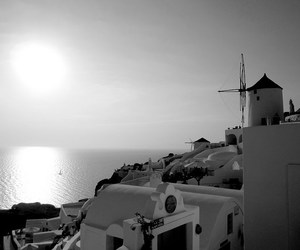black&white, santorini, and Greece image