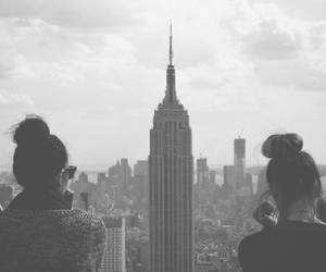 black and white, empire state building, and fashion image