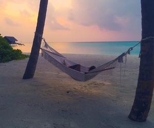 bed, bora bora, and coconuts image
