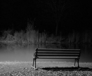 bench, quote, and black and white image