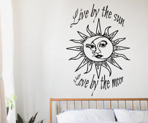 living room decor, wall decals, and sun and moon image