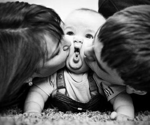 baby, family, and kiss image