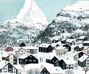 art, mountains, and winter image