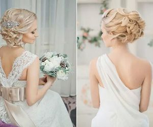 bride, dress, and hairstyle image