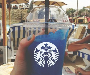 starbucks, blue, and summer image