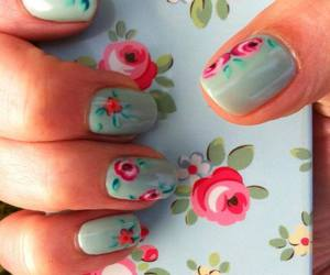 nails, flowers, and iphone image