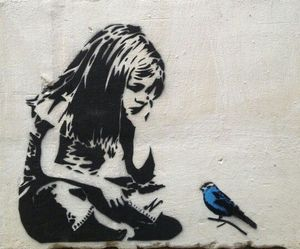 art, bird, and BANKSY image