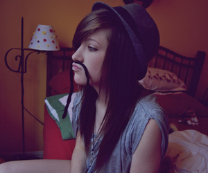girl, mustache, and hair image