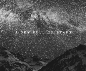 stars, coldplay, and black and white image