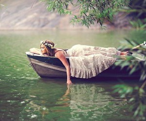 girl, boat, and dress image