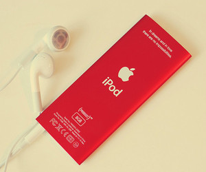 ipod, red, and apple image