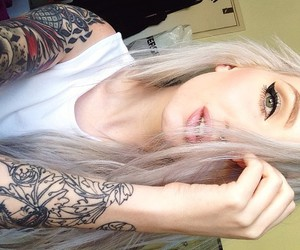 tattoo, blonde, and hair image