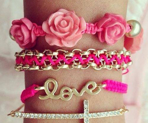 pink, love, and bracelet image