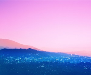 blue, city, and pink image