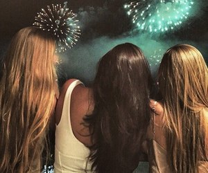 girl, friends, and fireworks image