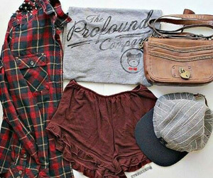 blouse, cap, and flannel shirt image