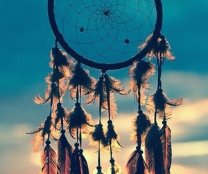 Dream, dreamcatcher, and sunset image