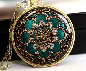 locket, flower, and green image