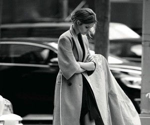 fashion, black and white, and coat image