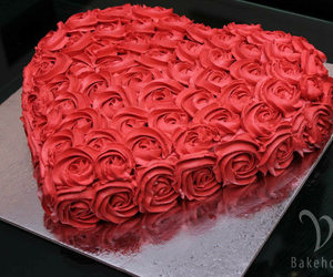 cake, heart, and flowers image