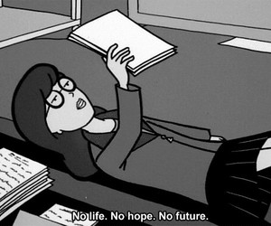 black and white, words, and Daria image