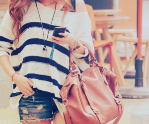 bag, striped, and sweater image
