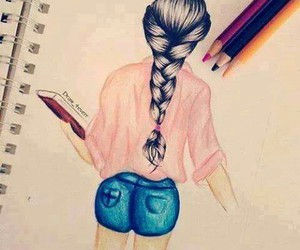 braid, pink, and drawing image