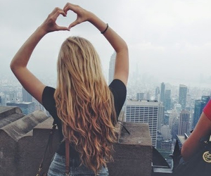 girl, hair, and heart image