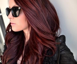 hair, red, and sunglasses image